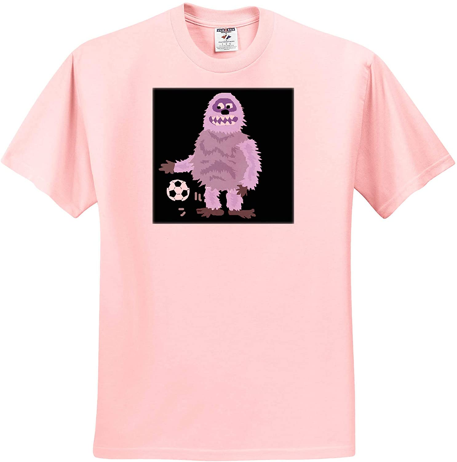 3dRose All Smiles Art - Sports and Hobbies - Funny Cute Abominable Snowman Playing Soccer Sports Cartoon - Youth Light-Pink-T-Shirt Small(6-8) (ts_328999_44)