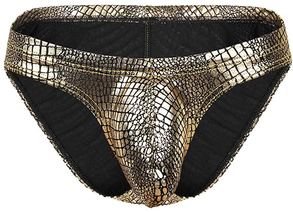 wear2me Men Sexy Animal Print Underwear Briefs Cool Liquid Metallic Thong Bikini