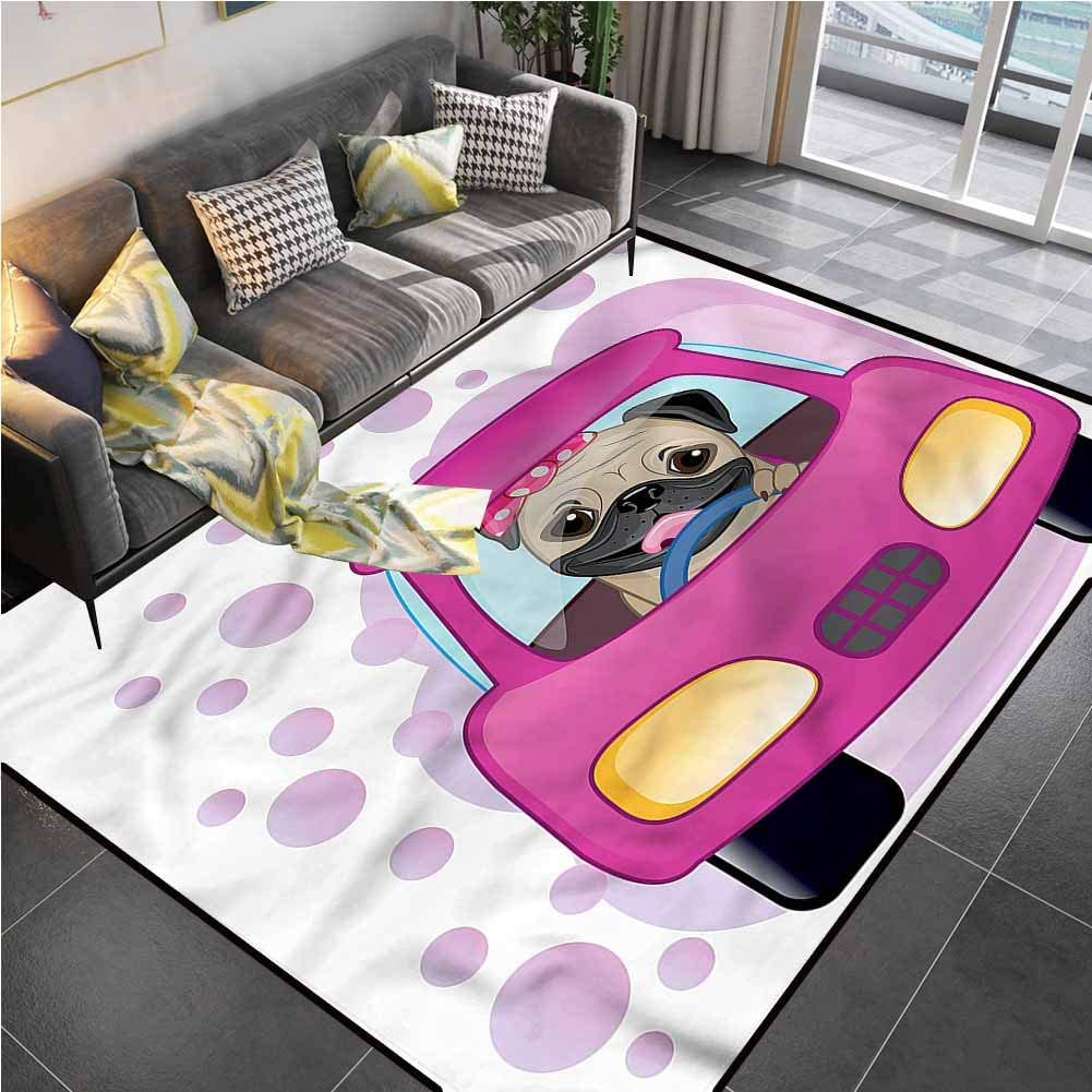 Area Rug Print Large Rug Mat Pug,Dog Driving on Cute Car Chair mats for Carpeted Floors for Living Dining Dorm Playing Room Bedroom 6'6