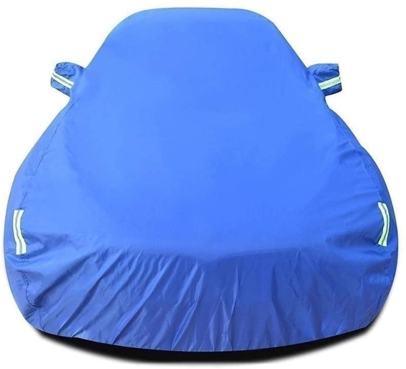 GUJOJO Car Cover/Compatible with Dodge Challenger Hellcat/SE/SRT8/SXT/Waterproof Dust-Proof with Fluorescent Strip Anti-rain/Snow Lined Cotton Foldable Oxford Clo(Color:Blue+Cotton,Size:SRT8 Core)