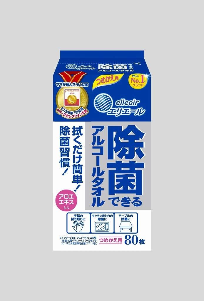 Elleair sterilizing Alcohol Towel for refilling 80 pcs x 24 pcs