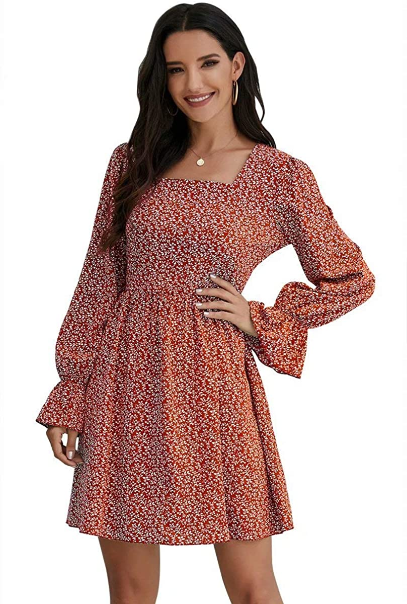 Women Flowy Ruffle Long Sleeve Vintage Floral Mini Scoop Neck Dress