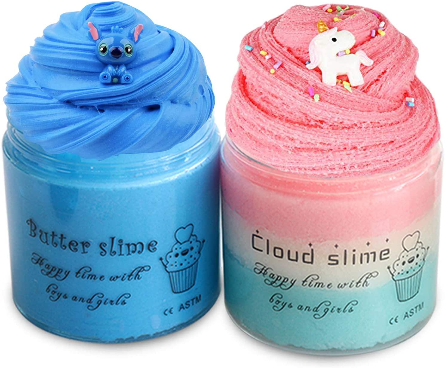 2 Pack Fluffy Butter Slime Kits Blue Cloud Slime Soft Stretchy Non Sticky DIY Scented Sludge Novelty Toys Slime Games for Kids(8 oz 200ML)