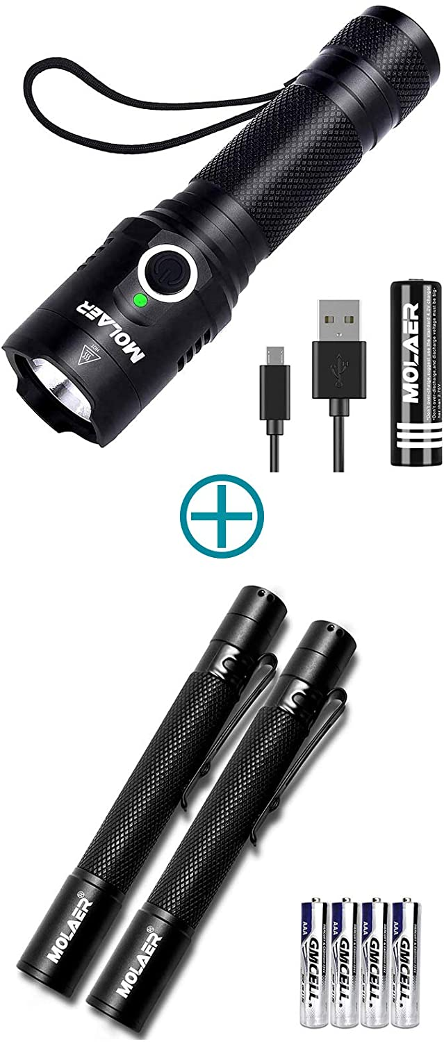 Rechargeable LED Flashlight & 2-Pack Zoomable Pen Light Flashlight
