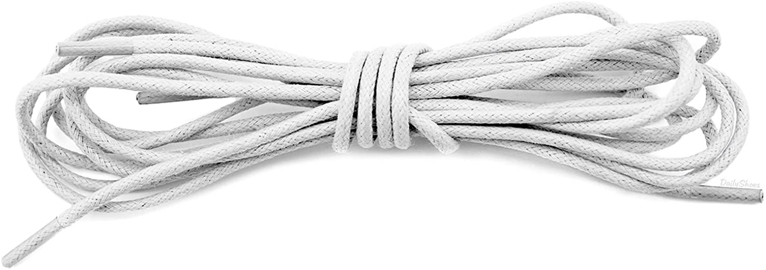 DailyShoes Round Waxed Shoelaces Oxford Flat Dress Canvas Sneaker Shoe Laces, 60-Inches (152-CM) 2-Pairs, Ivory