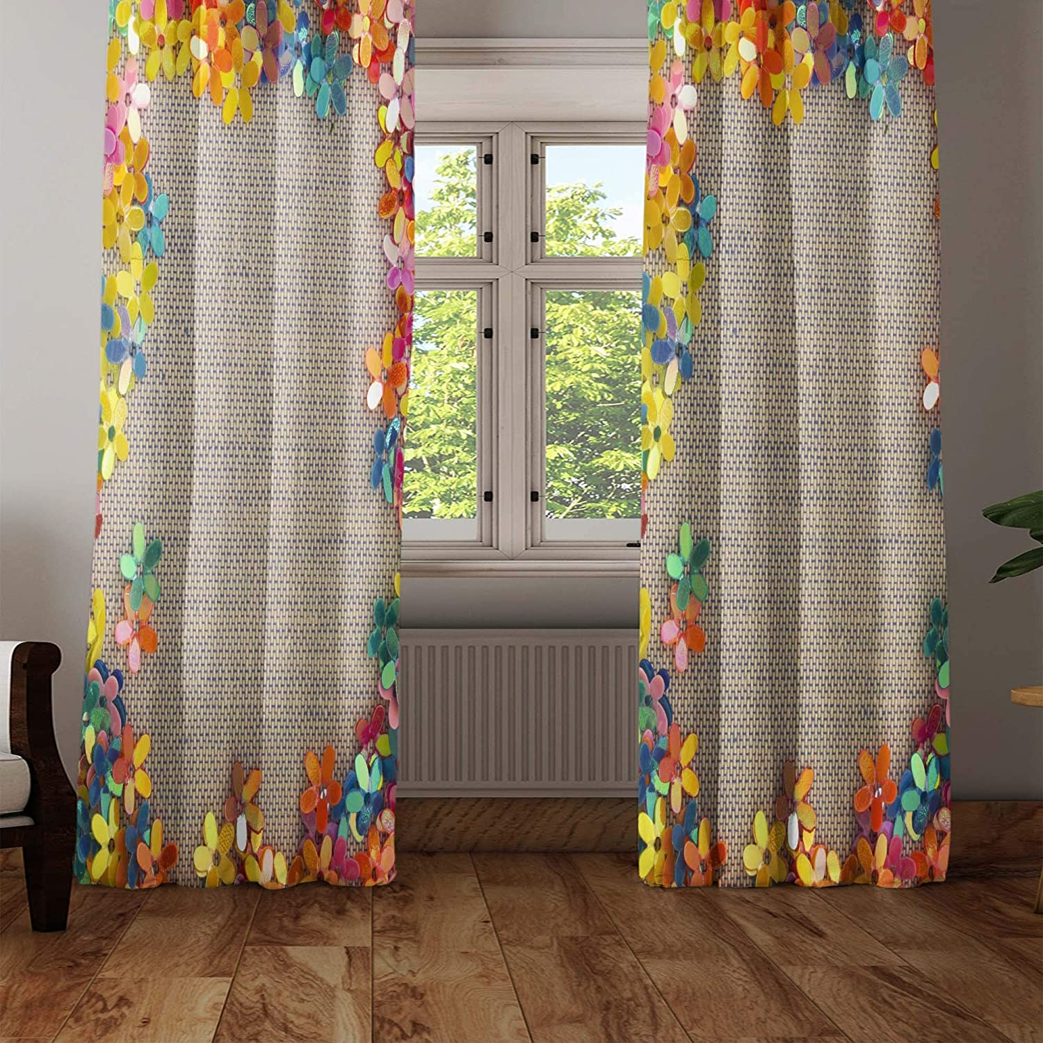 Else Colorful Straw Flowers 3D Decorative Modern Backdrop Single Wing Curtain