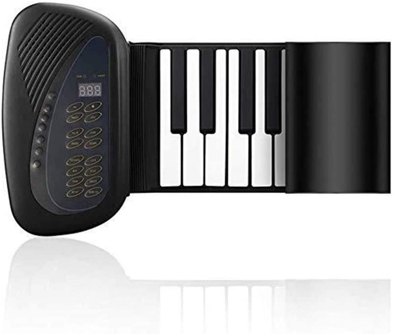 QIENON 88-Key Roll Up Piano Portable Rechargeable Electronic Hand Roll Piano with Environmental Soft Silicone Piano Keyboard for Beginners 104