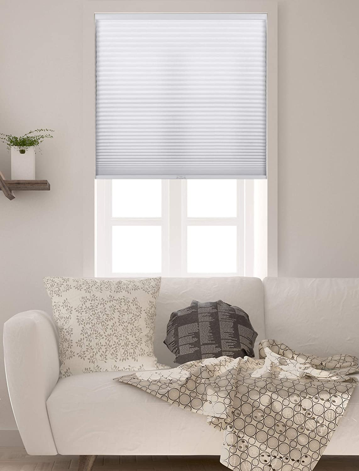 Arlo Blinds Single Cell Light Filtering Cordless Cellular Shades, Color: Pure White, Size: 34