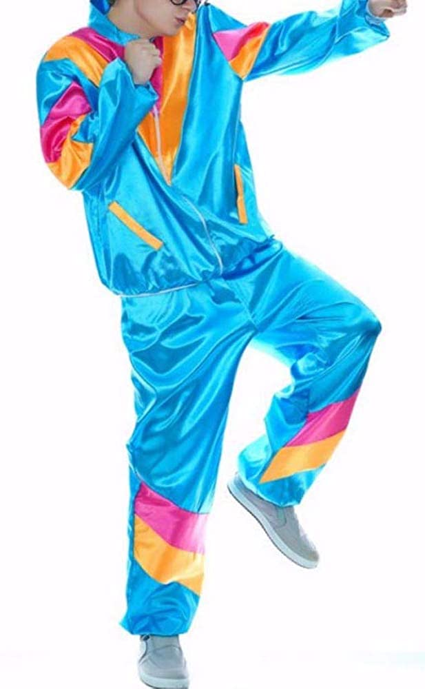 MIAIULIA Men's 80s Height of Fashion Shell Suit Costume, Male