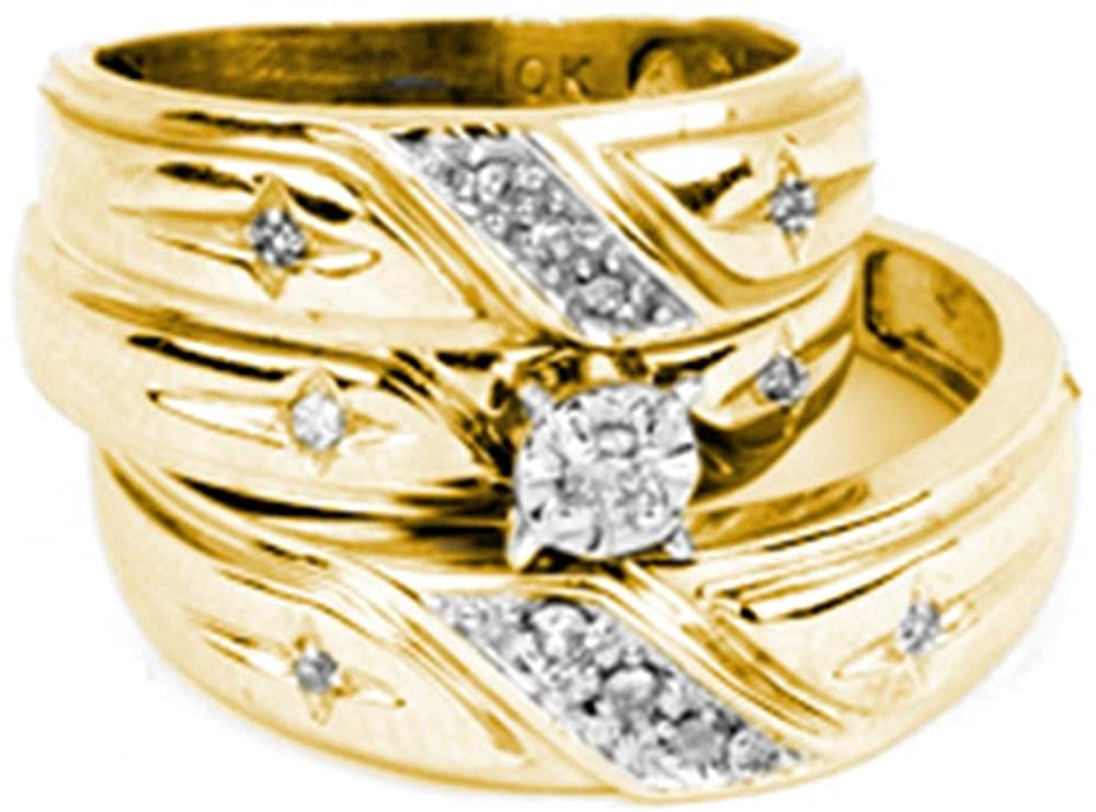 Sonia Jewels 14k Yellow Gold Trio His & Hers Round Diamond Solitaire Matching Bridal Wedding Ring Band Set (1/6 Cttw)