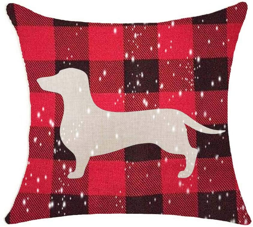 SLS Red Plaid Christmas Animal Dachshund Cotton Linen Decorative Throw Pillow Case Cushion Cover Lion Piillow case 18