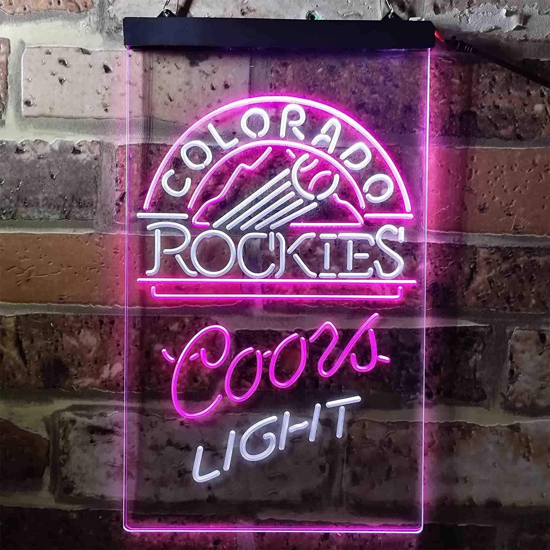 ZAKAKU Coors Light Beer Baseball CR1 Colorful LED Neon Sign Man Cave Light White & Purple W16 x H24
