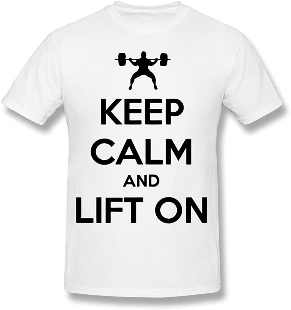 Billwu Mens Keep Calm and Lift on T-Shirt - White