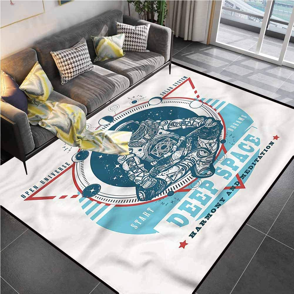 Area Rug Rugs Print Large Floor Mat Moon Phases,Astronaut Meditating Rug pad for Living Dining Dorm Playing Room Bedroom 6'6