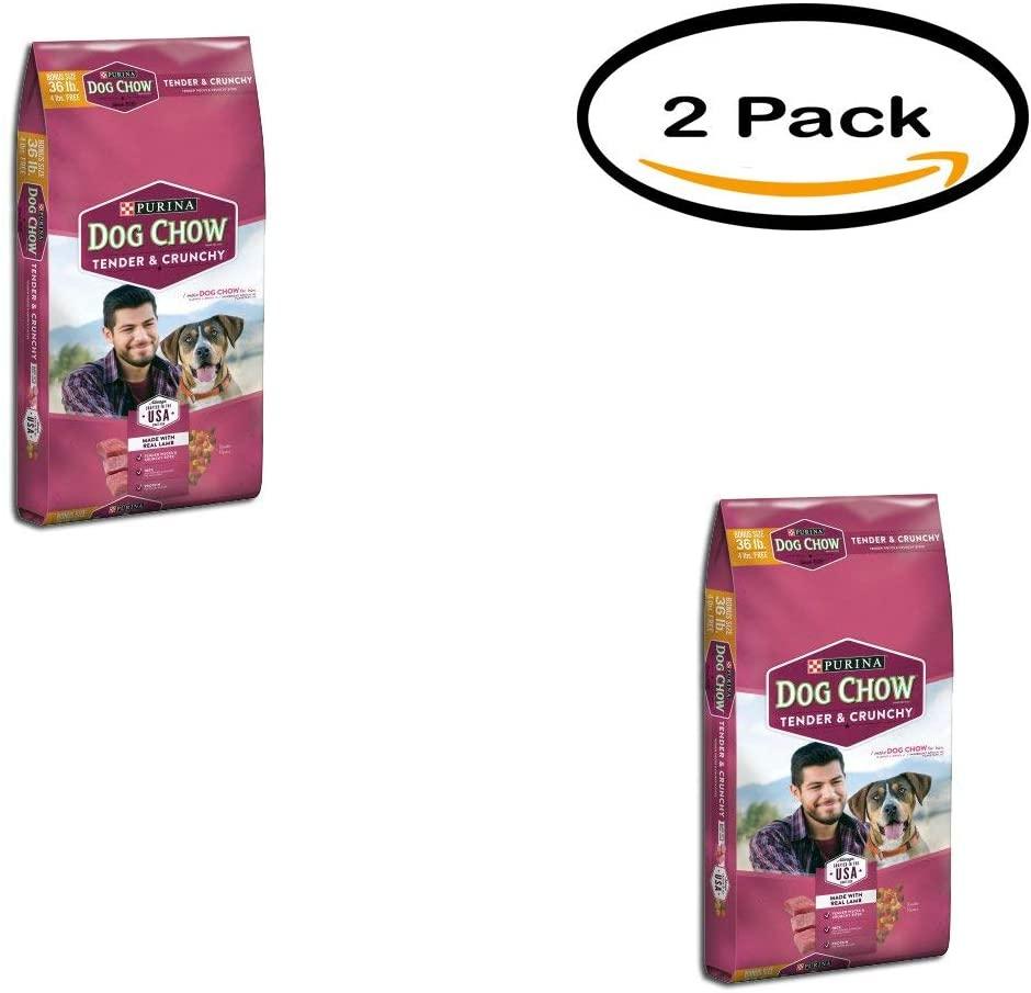Purina Dog Chow Pack of 2 Tender and Crunchy Dog Food Bonus Size 36 lb. Bag