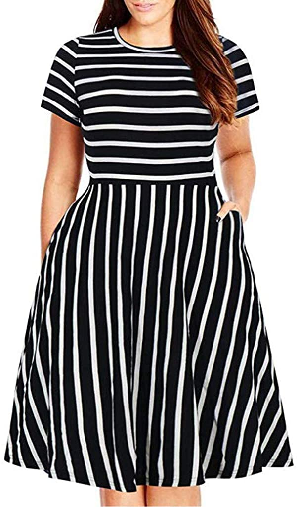 JSPOYOU Women Plus Size Dress Casual Fashion O-Neck Striped Short Sleeve Pockets Dress