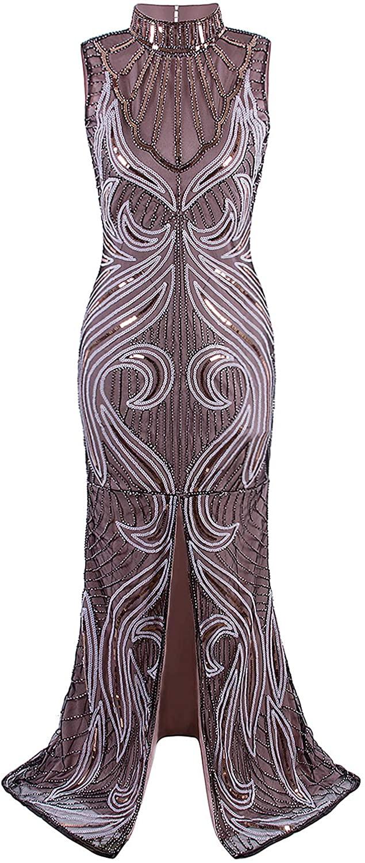 VIJIV Womens Inspired Embellished 1920s Great Gatsby Dresses Vintage Art Deco Flapper Charleston Dress