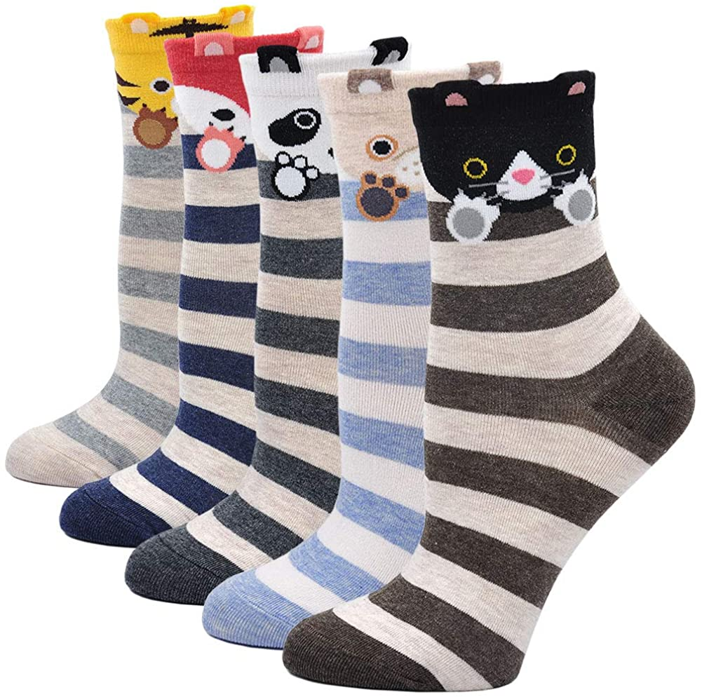 Womens Dog Dogs Cat Cute Animal Cotton Crew Novelty Liner Socks US size 5-11