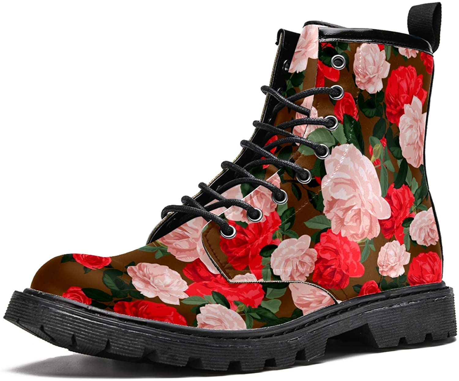 LORVIES Romantic Roses Flowers Men's High Top Boots Lace Up Casual Leather Ankle Shoes