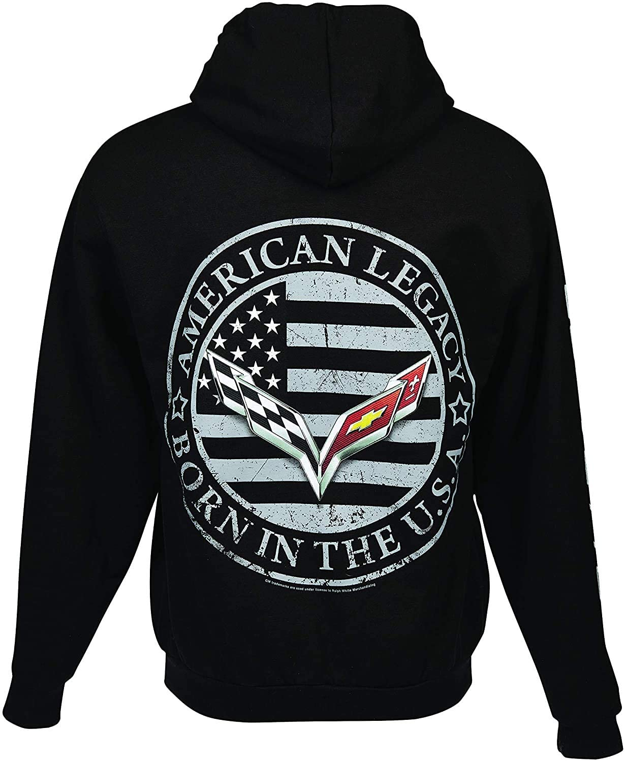 C7 Corvette Born in The USA American Legacy Zip Up Hoodie Jacket - Black (XX-Large)