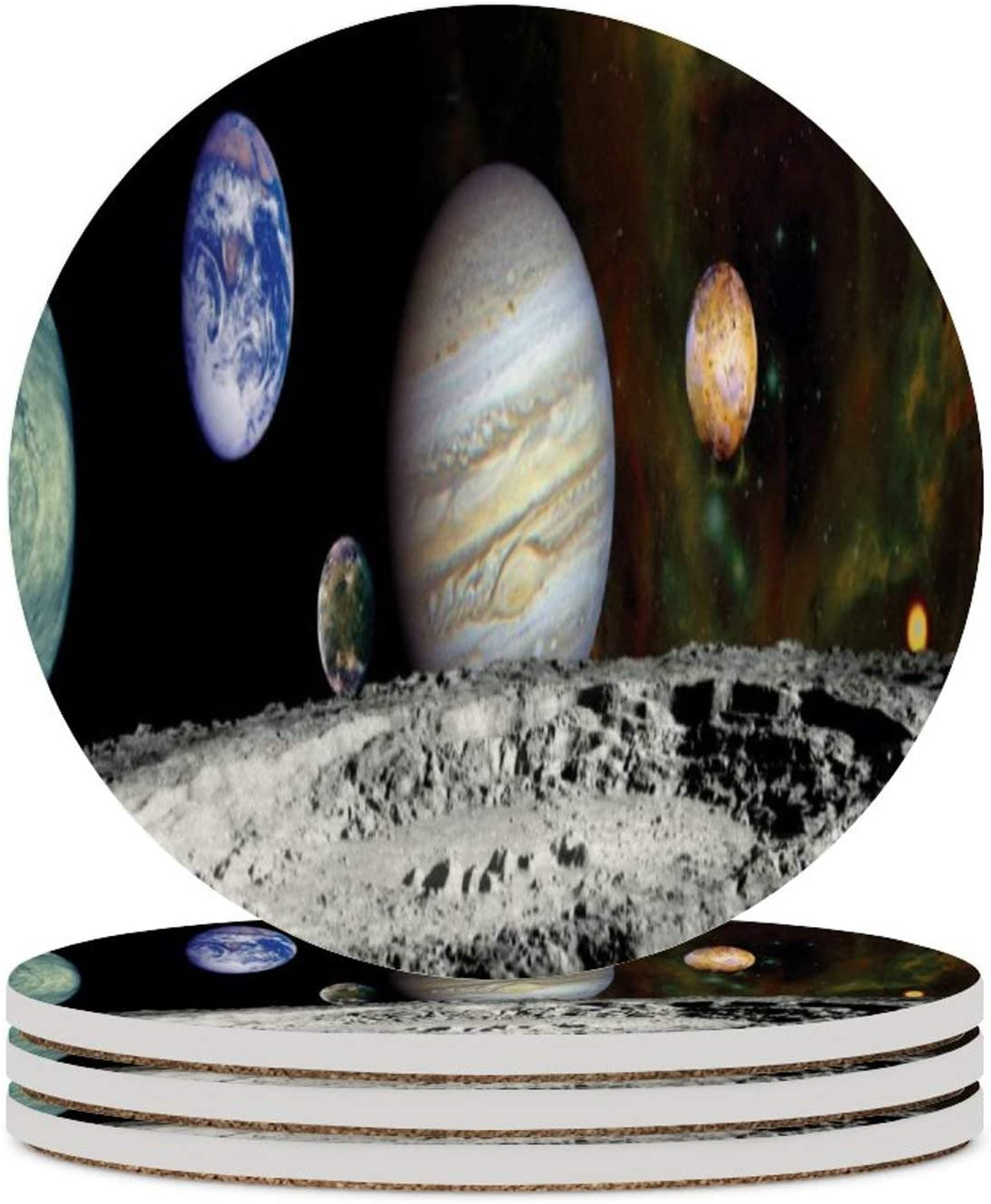 4pcs Solar System Voyager Images Montage Space Ceramic Coasters For Drinks,Heat Resistant Drink Coaster Round Drinks Absorbent Stone Coaster Set For Friends Men Women Funny Birthday Housewarming