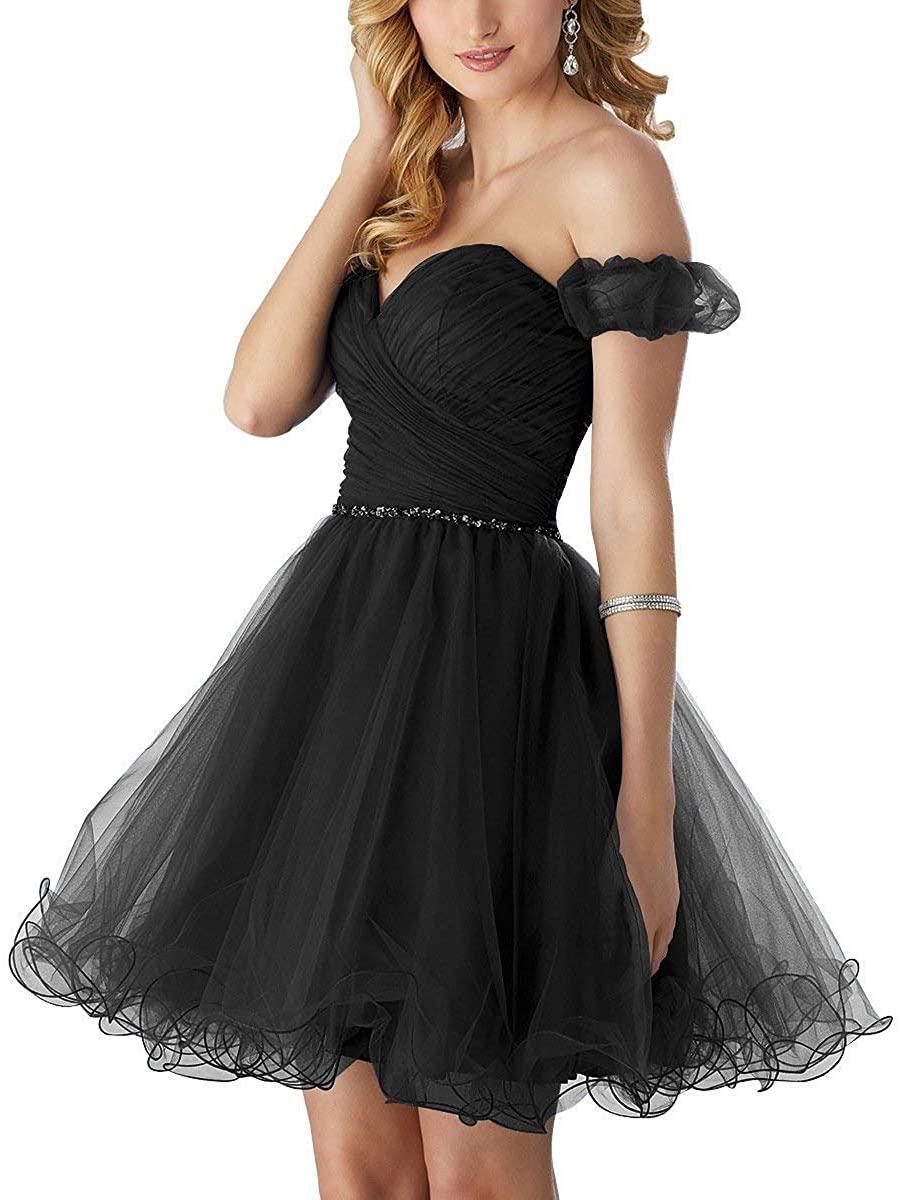 YOUTODRESS Off Shoulder Homecoming Dresses Short Tulle Knee Length Prom Dress