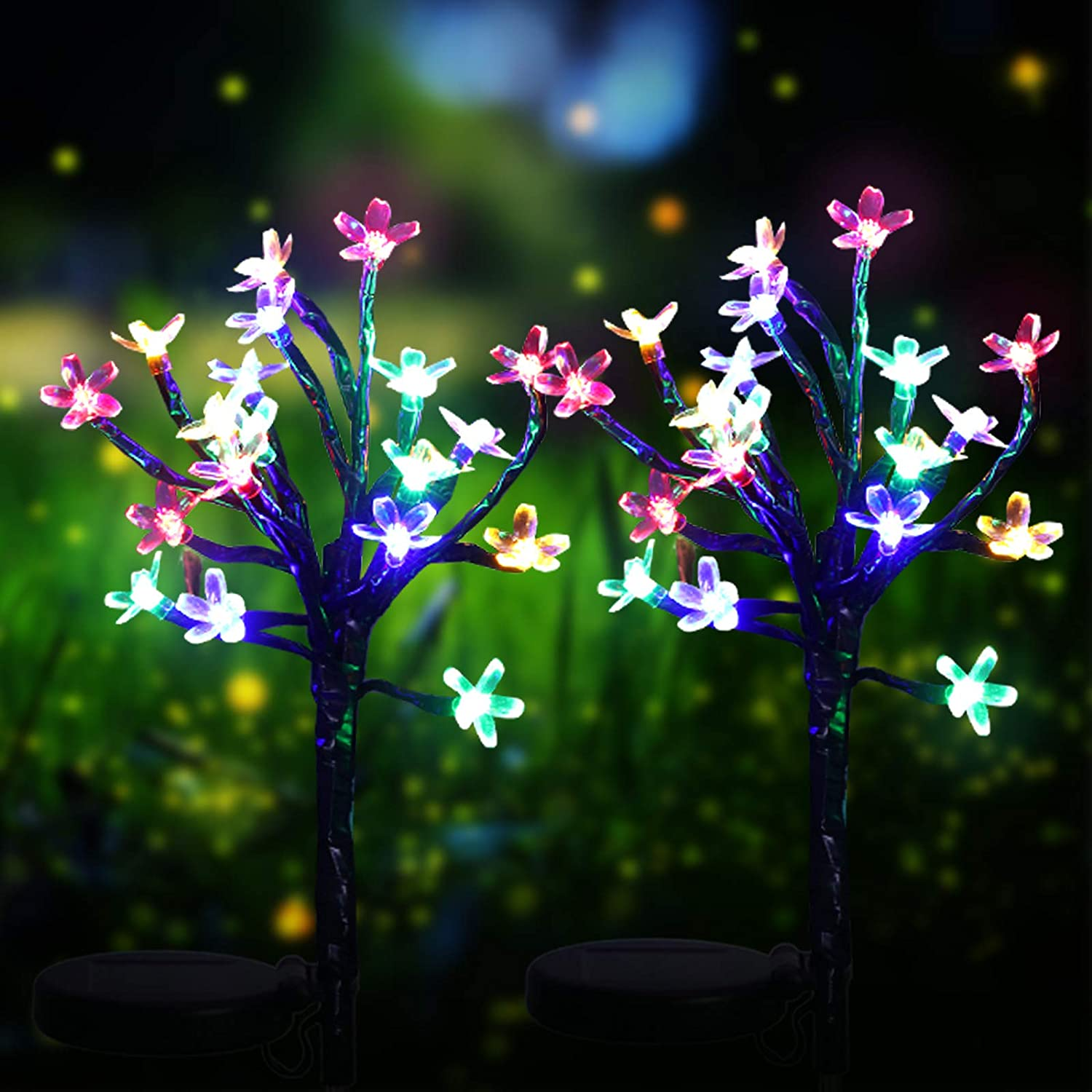 2 Pieces Solar Flower Lights with 20 Multi-Color LED Cherry Flower Fairy Lights Waterproof Solar Powered Blossom Light for Outdoor Garden Yard Patio Lawn Pathway Landscape Decoration