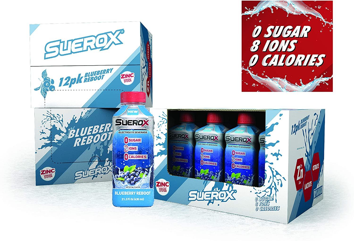SueroX Zero Sugar Electrolyte Drink for Hydration and Recovery, Blueberry Reboot, 21 Ounce, 12 Count