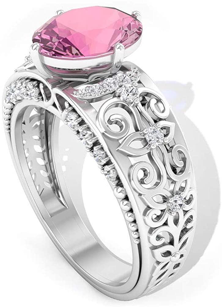 Solitaire 2.63 CT Oval Shape Certified Tourmaline Gold Engraved Ring, HI-SI Diamond Beaded Vintage Engagement Ring, Gemstone Filigree Wedding Ring Set, 10K Gold