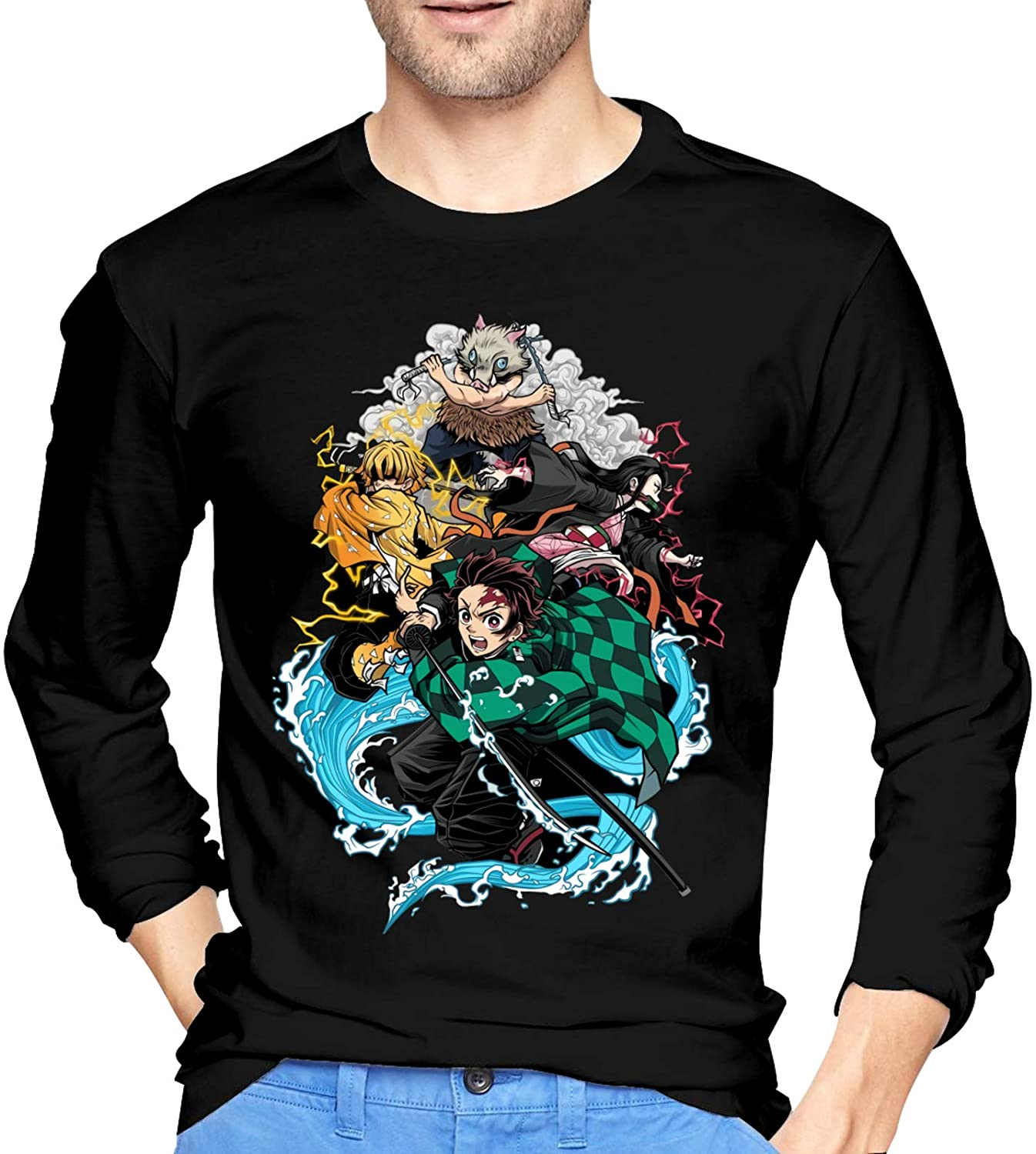 Demon Slayer Cartoon Men's Adult Cotton Long Sleeve T-Shirt Graphic Fashion Tops Casual Crewneck Tee