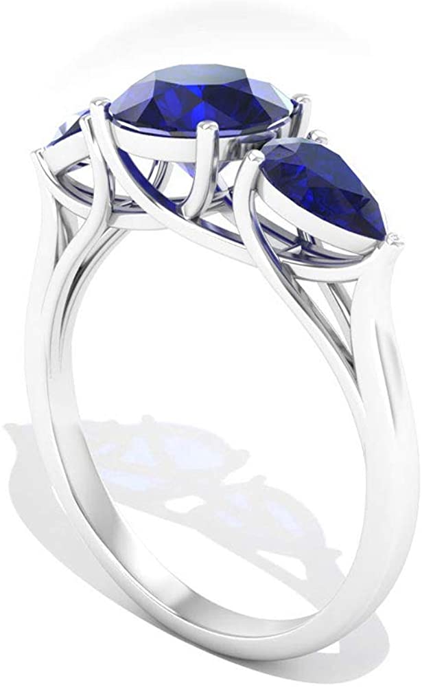 2.60 CT Pear Round Certified Blue Sapphire Engagement Ring, Antique Three Stone Bridal Promise Rings, September Birthstone Trilogy Matching Rings Gift, 10K Gold