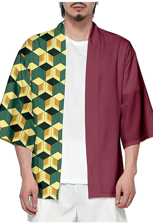 Unisex Adult Demon Slayer Kamado Tanjirou Tomioka Giyuu Cosplay Cape Seven Sleeves Open Front Coat Outwear