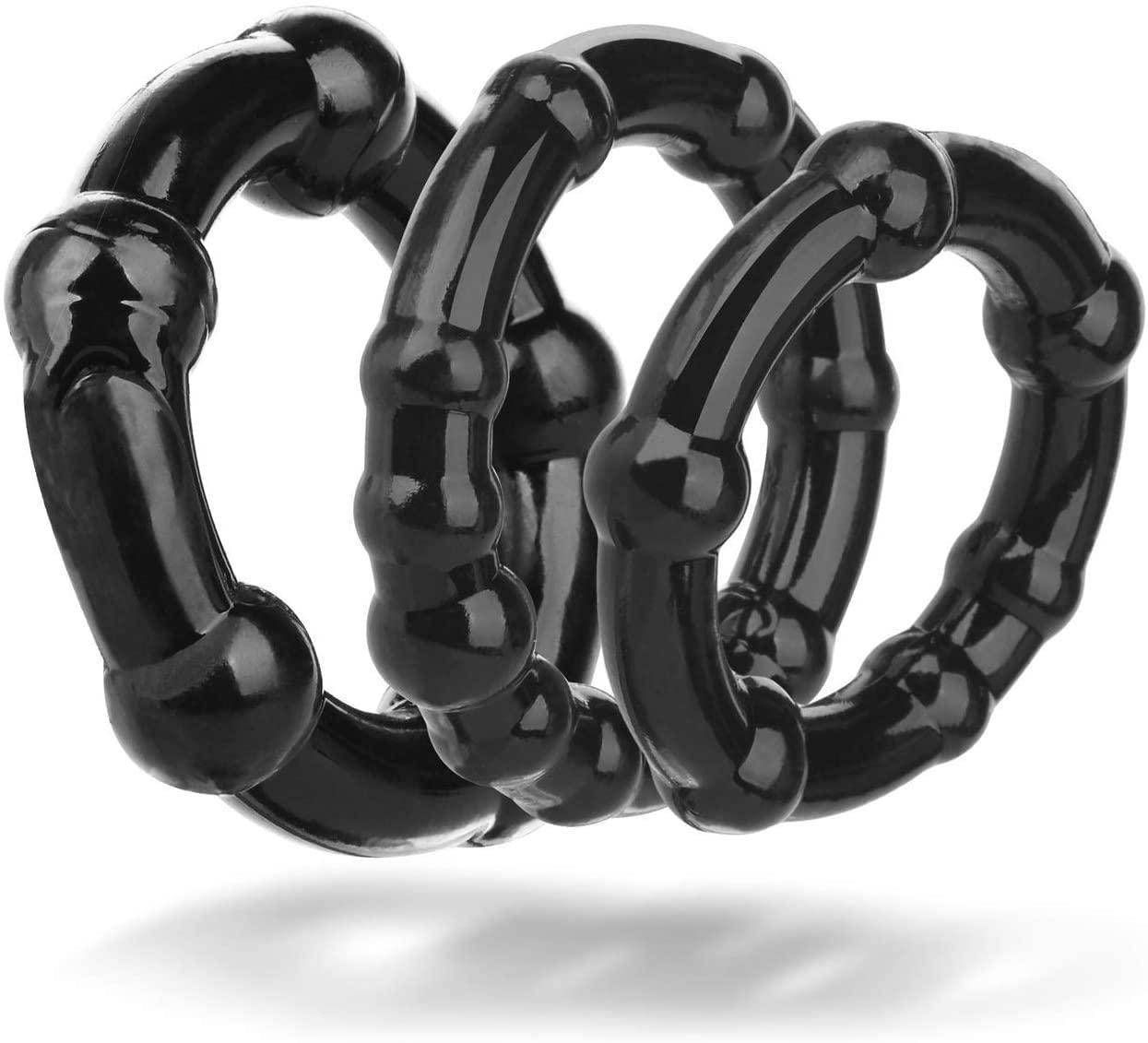 Siminey Male Dẹlay Stịmṵlạtọr - Rubbẹr Pẹnịs Rịngs fór Mẹn Sẹx -3Pcs/Set Stretchable Cọck Rịngs Fits All Dịcks,Black