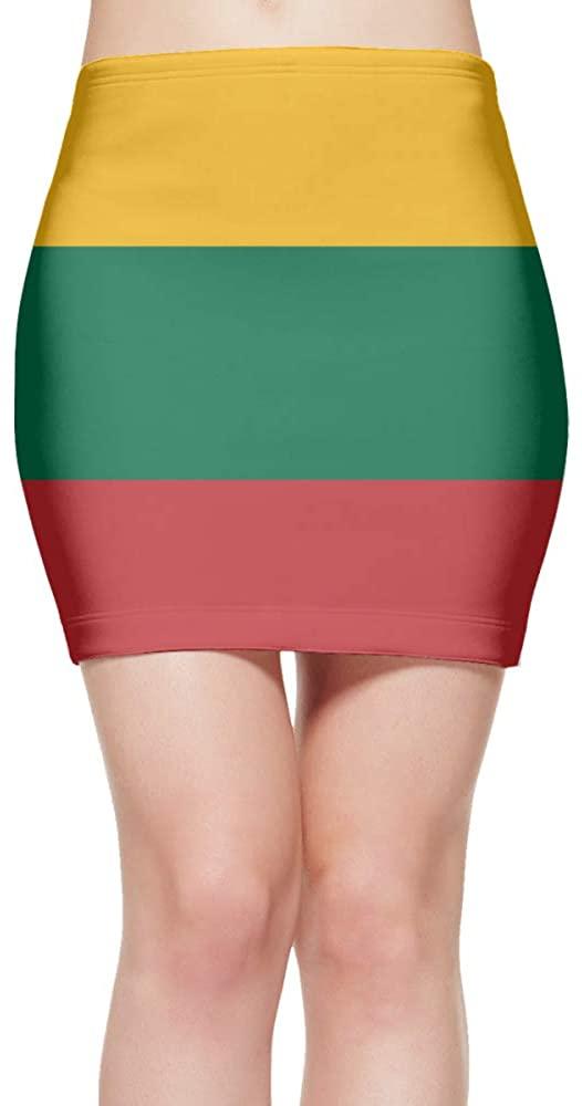 ChunLei Tight Mini Skirt Lithuanian Flag Womens High Waist Short Skirt
