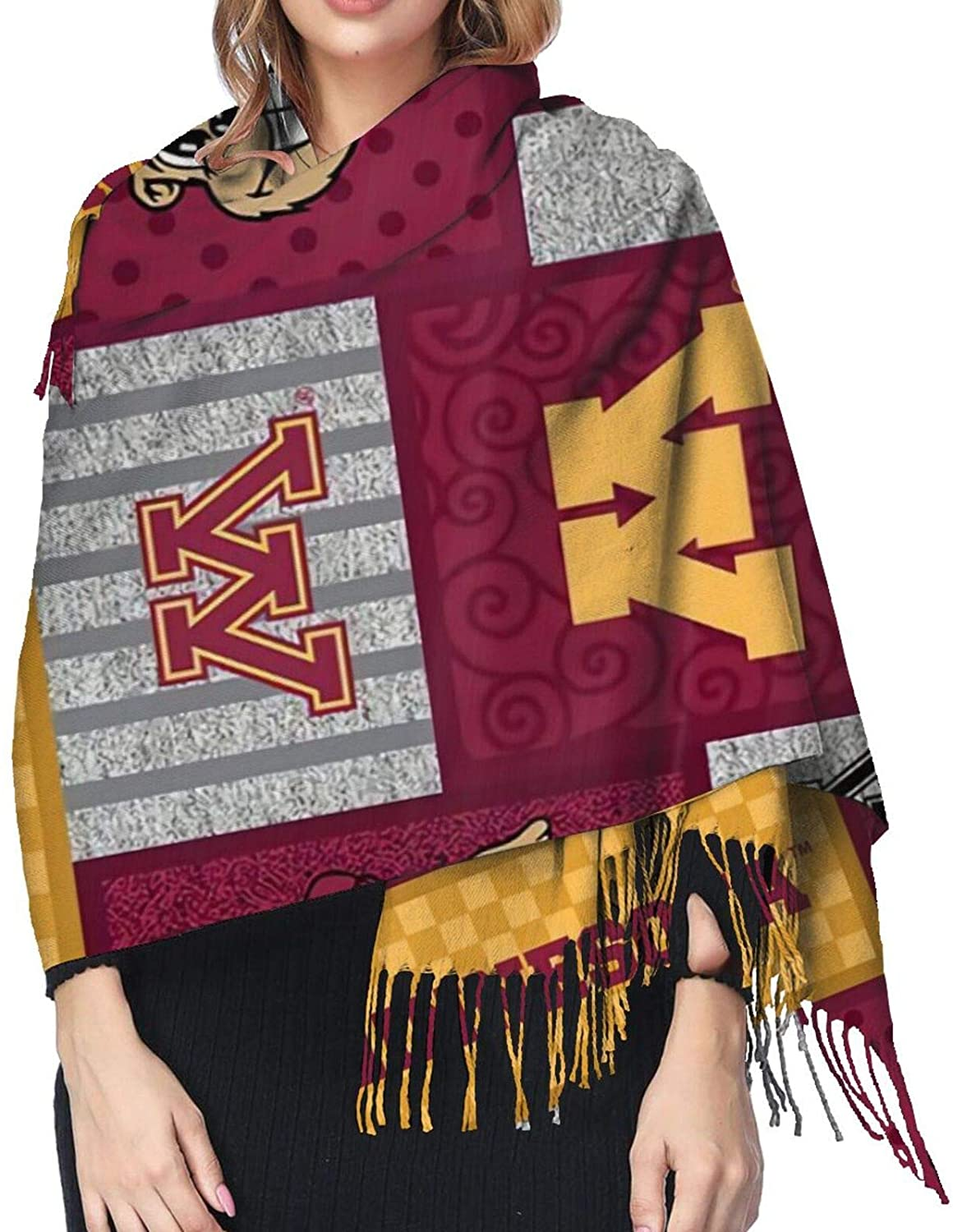 University Of Minnesota Printed Cashmere Scarf,Large Soft Warm Shawl Wrap Scarf Tassels Scarves,77