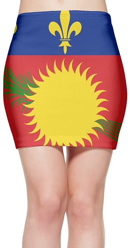 ChunLei Tight Mini Skirt Flag of Guadeloupe Womens High Waist Short Skirt