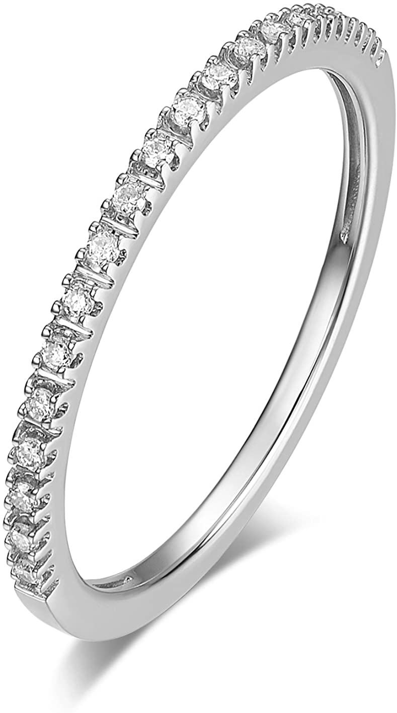 HAFEEZ CENTER 14K Gold Riviera Petite Micropave Diamond Half Eternity Wedding Band Ring for Women, 1.5mm