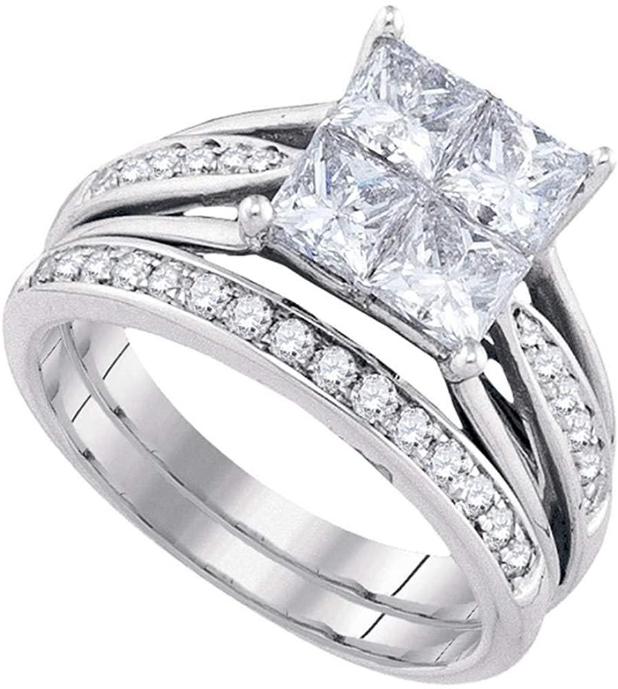 Solid 14k Yellow Gold Princess Cut Invisible-set Diamond Wedding Bridal Ring Band Set 2.00 Ct.