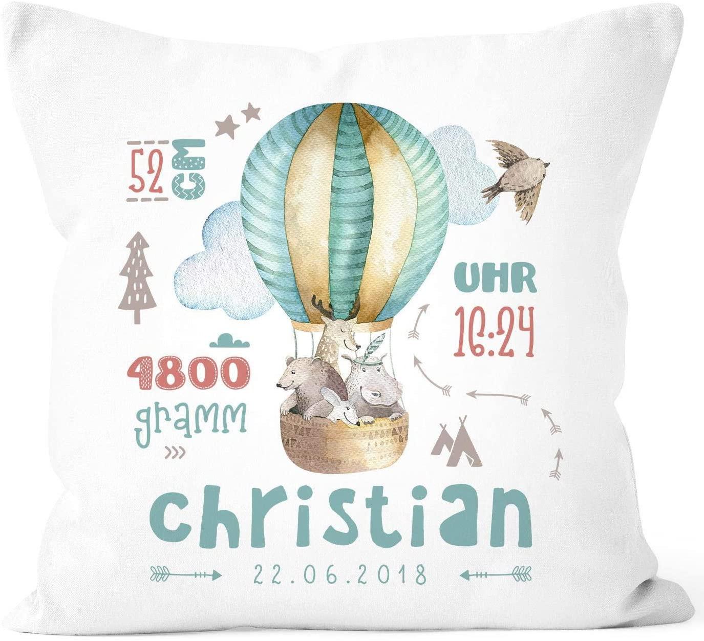 EricauBird Throw Pillow Cover-Customizable Pillow Case for Birth Hot Air Balloon, Birth Pillow Case Boy Girl, Name Pillow Case Gift Birth Baby Wish Name,18x18