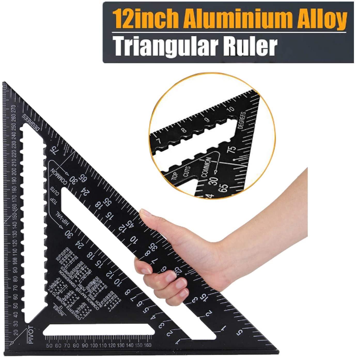 18/30cm Aluminium Set Square ruler 12inch Protractors Rafter Angle Frame Measuring Carpenter Measurement woodworking Triangular Ruler (12inch)