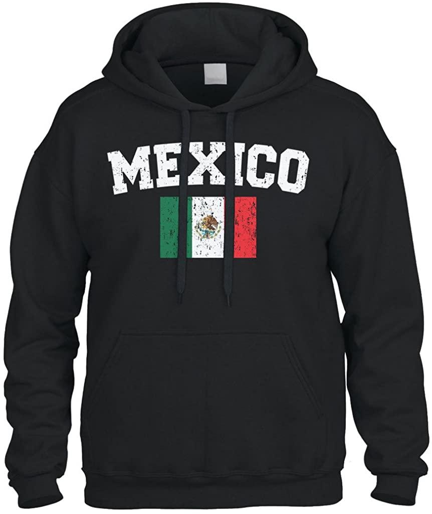 Cybertela Faded Distressed Mexico Flag Sweatshirt Hoodie Hoody