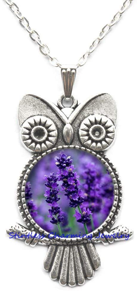 Lavender Owl Necklace, Gift for mom, Gift for Women, Lavender Jewelry, Nature Owl Necklace, Nature Jewelry, Flower Owl Necklace, Purple Owl Necklace-JV258