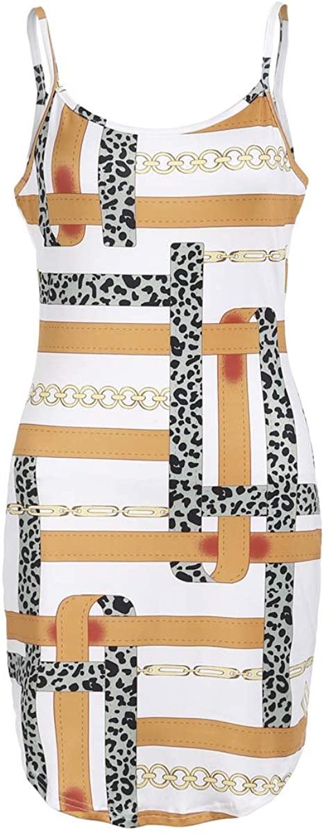 luethbiezx Women's Sleeveless Vest Dress Chain Print Round Neck Bodycon Wrap Stretch Tank Party Cocktail Dress