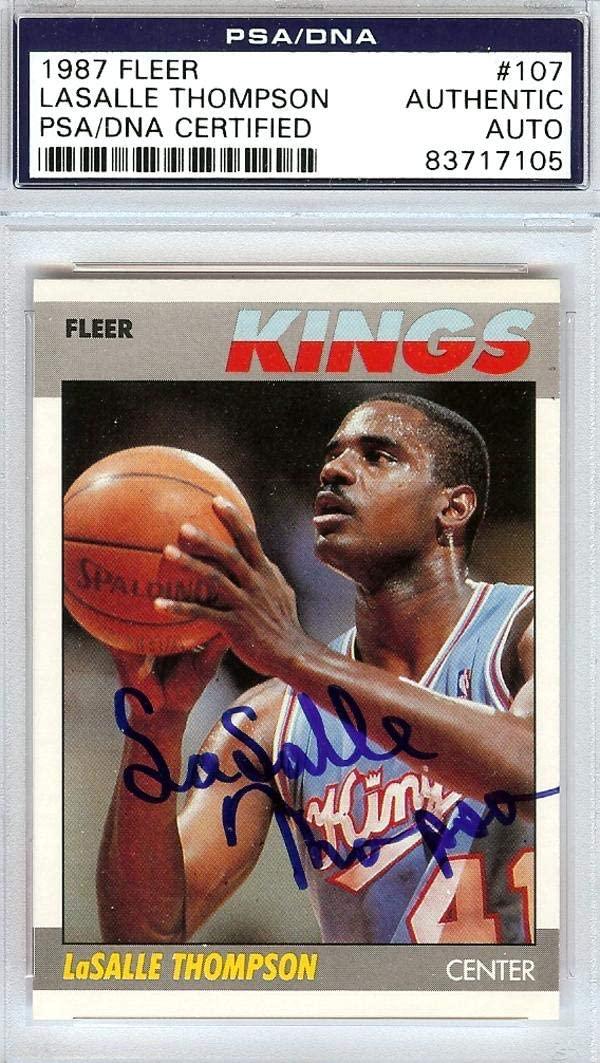 LaSalle Thompson Autographed 1987 Fleer Card #107 Sacramento Kings PSA/DNA #83717105 - Basketball Autographed Cards