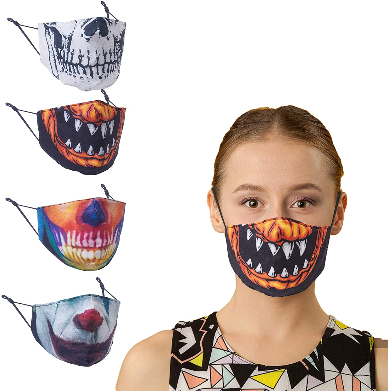 RTMAXCO 4 Packs Kids Christmas Face Mask Protection Washable Adjustable Earloops