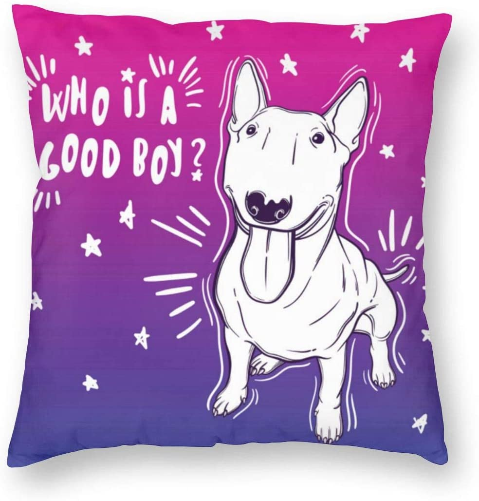 AUISS Square Throw Pillow Covers Bull Terrier Protectors Car 18 X 18 Inch Christmas Decorative Cushion Covers