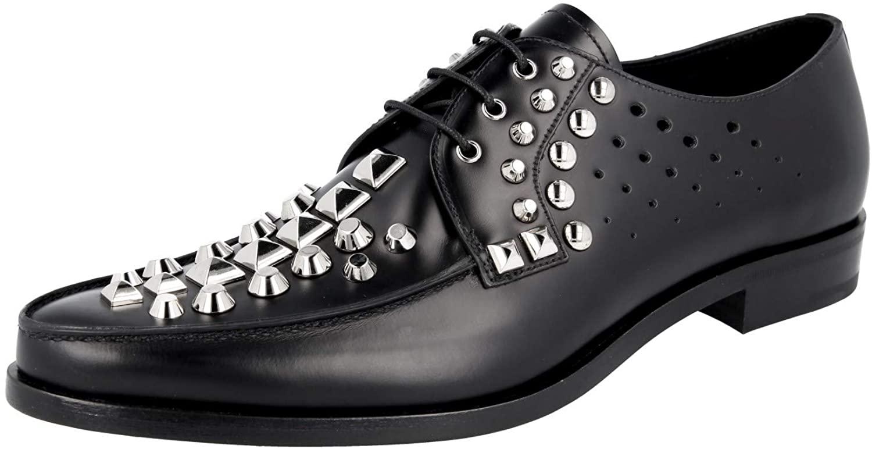 Prada Men's 2EG256 B4L F0002 Brushed Spazzolato Leather Lace-up Shoes