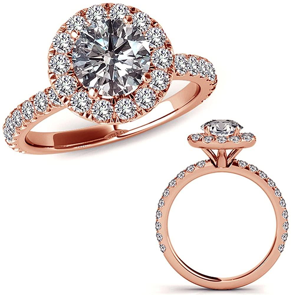 1.25 Carat G-H Diamond Halo Half Eternity Fancy Promise Engagement Bridal Wedding Ring 14K Rose Gold