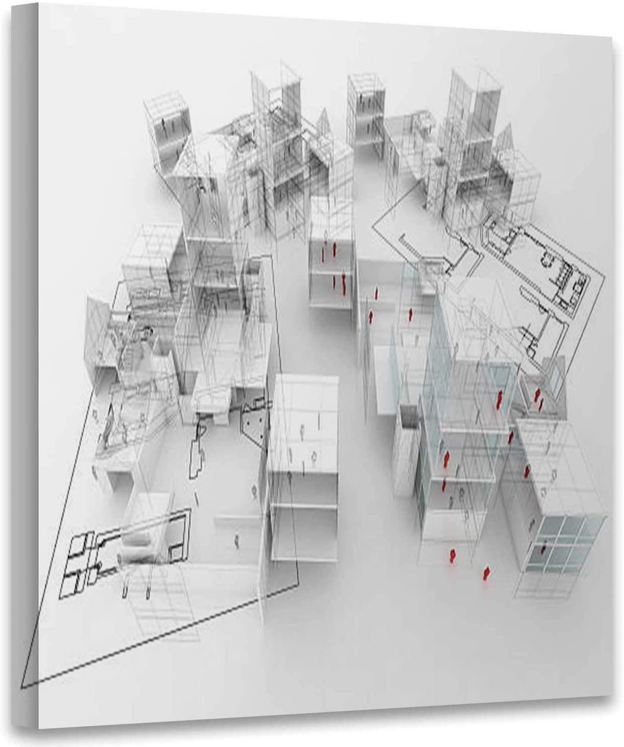 Hitecera 3D Villa Project Construction Industry,Art Print for Living Room Modern Model - Object Art Print for Living Room Modern 19x19in