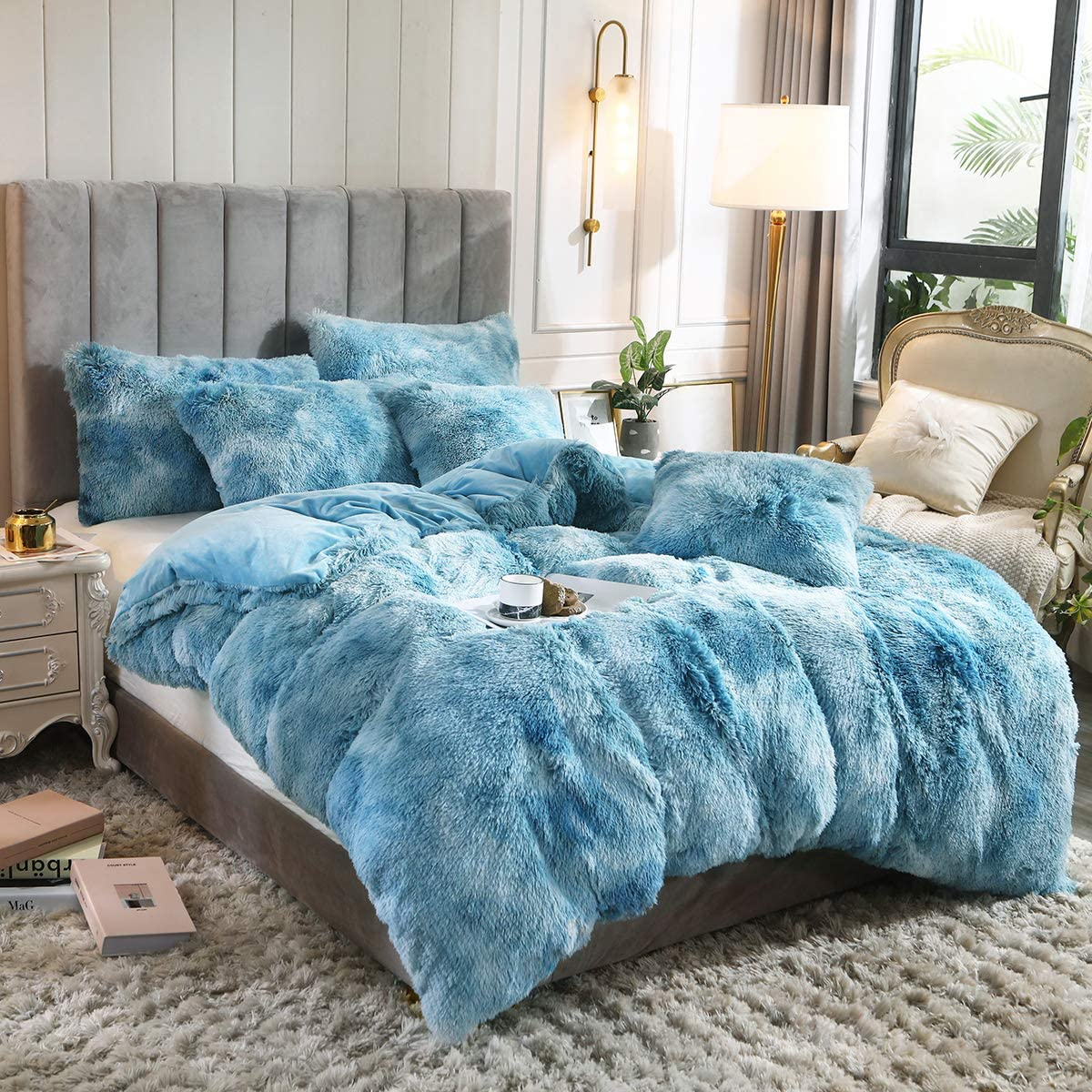 Uhamho Tie Dye Printed Shaggy Plush Duvet Cover 1 PC Modern Abstract Faux Fur Bedding Blanket, Ultra Soft Warm and Durable (King, Turquoise)